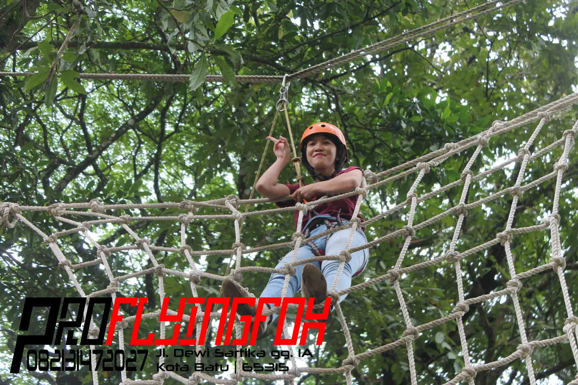 0821 3147 2027 , Flying Fox Bandung , Flying Fox Malang , Game Individu High Rope Spider Net