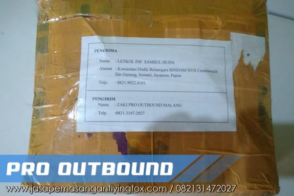 Pengiriman Alat Outbound Kepada Letkol INF di Papua, Jual Peralatan Flying Fox Kalimantan - 082131472027 (2)