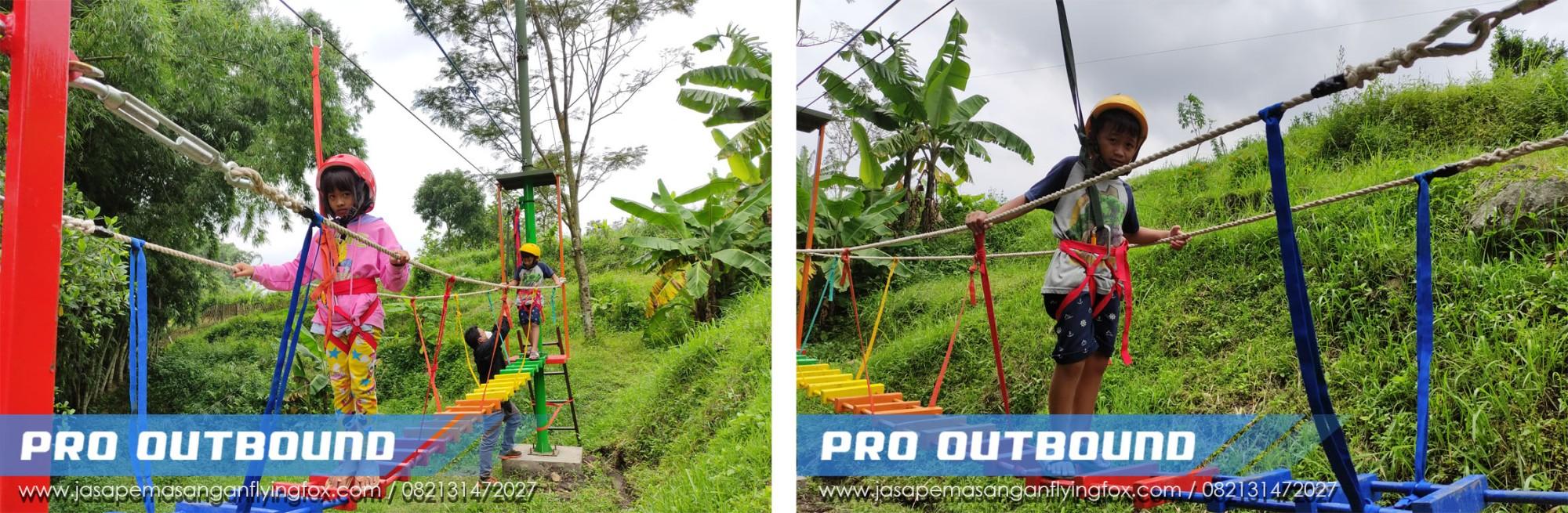 Penyedia Highrope Games Untuk Anak Anak di Kota Wisata Batu, Pembuatan Wahana Outbound Batu - 082131472027 (1)